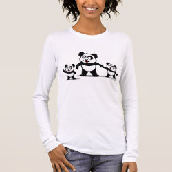 Women's Basic Long Sleeve T-Shirt with Cute Panda with two Babies design