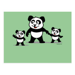 Cute Panda with two Babies Postcard