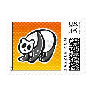 Cute Panda; Yellow Orange Stamp