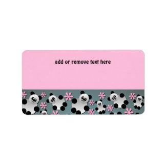 Cute Pandas and Flowers Address Label