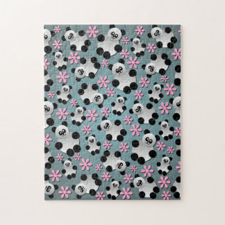 Cute Pandas and Flowers Jigsaw Puzzle
