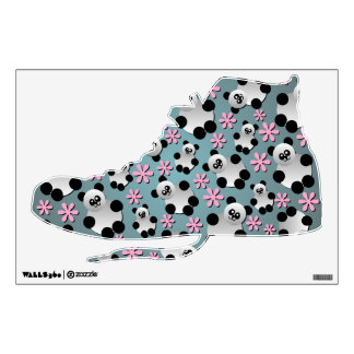 Cute Pandas and Flowers Shoe Wall Decal