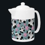 "Cute Pandas and Flowers Teapot<br><div class=""desc"">Cute pandas and pretty little flowers pattern in black,  white,  pink and blue. Original digital design by Laureloak.</div>"