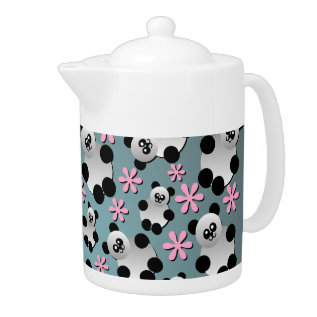 Cute Pandas And Flowers Teapot at Zazzle