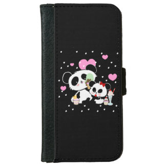 Cute Pandas Bear Picnic icecreams cakes Wallet Phone Case For iPhone 6/6s