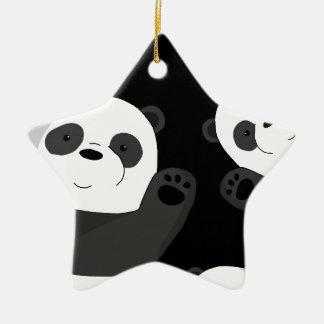 Cute pandas ceramic ornament