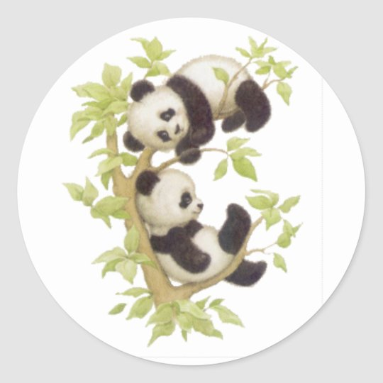 Cute Pandas Classic Round Sticker