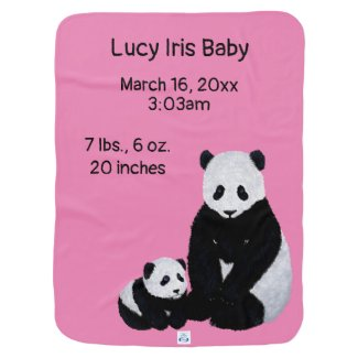 Cute Pandas on a Pink Baby Blanket