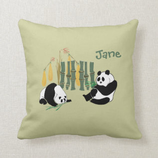Cute Pandas With Bamboo And Mango On A Mojo Pillow at Zazzle