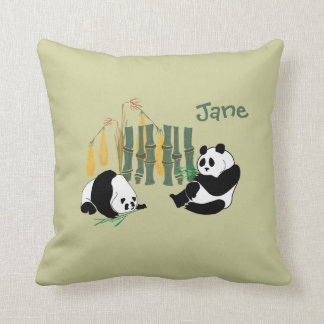 Cute Pandas With Bamboo And Mango On A Mojo Pillow