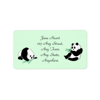 Cute Pandas eating bamboo shoots on avery labels