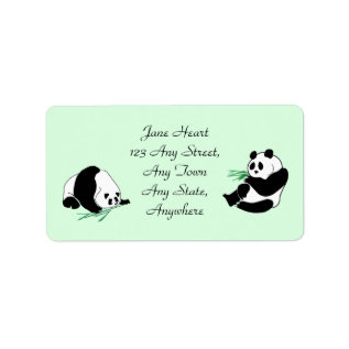 Cute Pandas With Bamboo Shoots Avery Labels at Zazzle