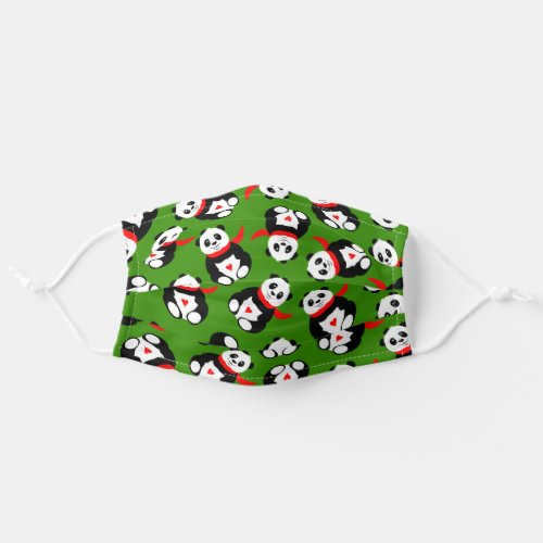 Cute Pandas with British Bowler Hats  Red Scarves Cloth Face Mask