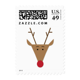 Cute Paper Cut Reindeer Christmas Stamp