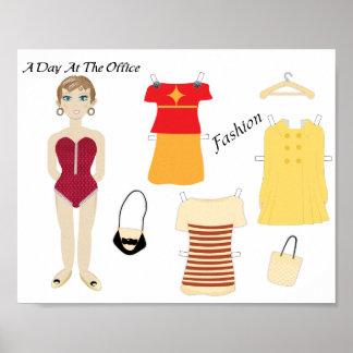 Cute Paper Doll Fashion Art Print Poster