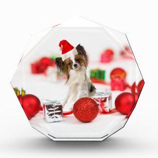 Cute Papillon Dog Christmas Santa Hat Award