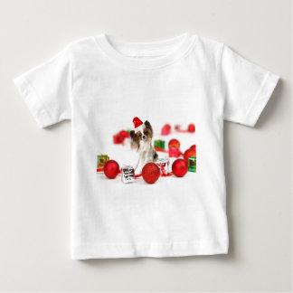 Cute Papillon Dog Christmas Santa Hat Baby T-Shirt