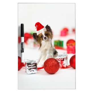 Cute Papillon Dog Christmas Santa Hat Dry Erase Board