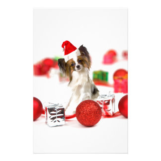 Cute Papillon Dog Christmas Santa Hat Stationery