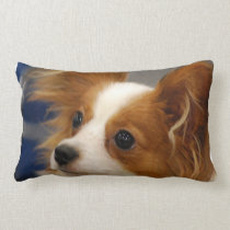 Cute Papillon Dog Lumbar Pillow