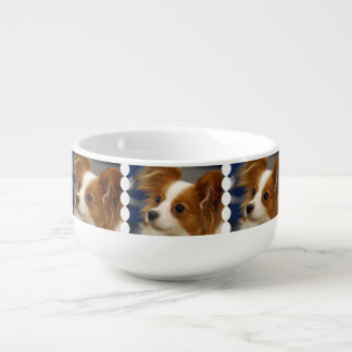 Cute Papillon Dog Soup Bowl With Handle