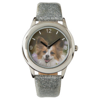 Cute Papillon Spaniel Photo Dog Lovers  dial-plate Wristwatch