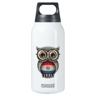 Cute Paraguay Flag Owl Wearing Glasses Thermos Bottle