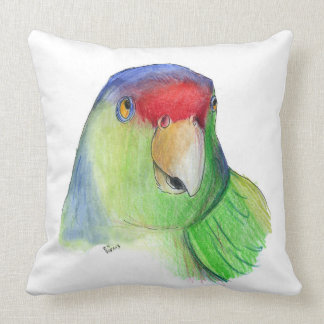 cute parakeet throw pillow