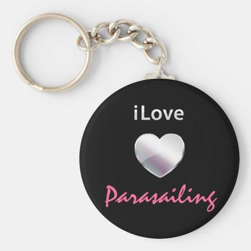 Cute Parasailing Basic Round Button Keychain