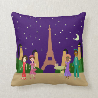 Cute Paris Illustration Throw Pillow