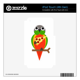 Cute Parrot Eating Pizza Cartoon iPod Touch 4G Decal