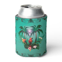 Cute parrot with flowers and palm can cooler