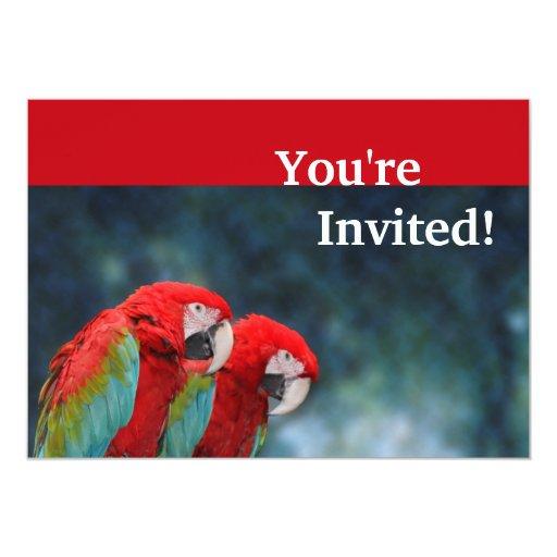 Cute Parrots Couple Anniversary 5x7 Paper Invitation Card