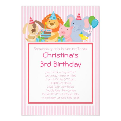 Cute Party Animals Birthday Party Invitations