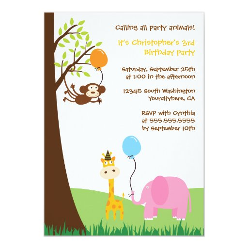 Cute party animals fun birthday party invitation