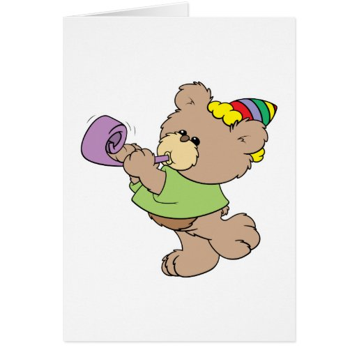 cute party bear with party favor design card