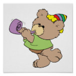 cute party bear with party favor design poster