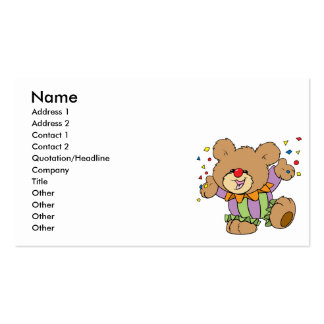cute party clown teddy bear design Double-Sided standard business cards (Pack of 100)