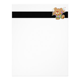 cute party clown teddy bear design letterhead