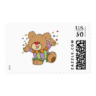 cute party clown teddy bear design postage