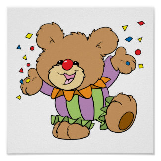 cute party clown teddy bear design posters