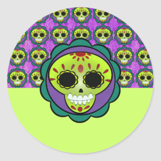 Cute Party Day of The Dead Sugar Skull Adhesive - Classic Round Sticker