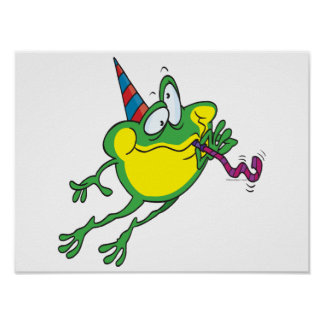 cute party frog cartoon poster