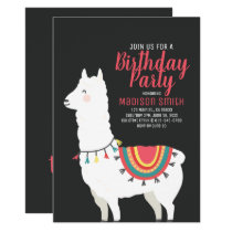 Cute Party Llama and Balloon Birthday Invitation