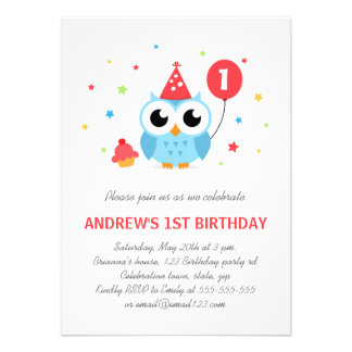 Cute party owl with balloon and cupcake birthday invites