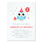 Cute party owl with balloon and cupcake birthday 4.5x6.25 paper invitation card