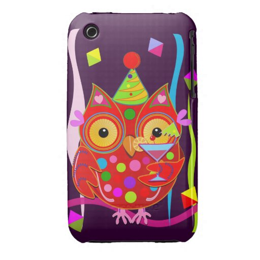 Cute Party Owl with Cocktail iPhone 3G/3GS Case Case-Mate iPhone 3 Case