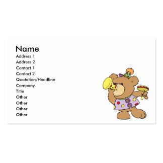 cute party teddy bear with noise makers Double-Sided standard business cards (Pack of 100)