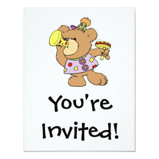 cute party teddy bear with noise makers personalized invitation