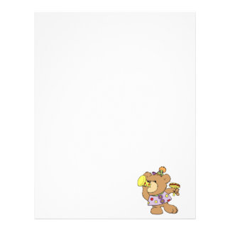 cute party teddy bear with noise makers letterhead